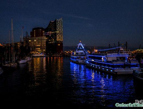 Hamburg Harbor by night